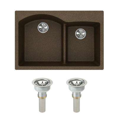 Quartz Classic Drop-in Composite 33 in. Double Bowl Kitchen Sink in Mocha with Drain