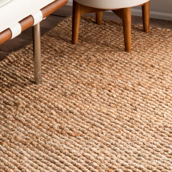 Solid Jute Tan 12 Ft X 15 Area Rug