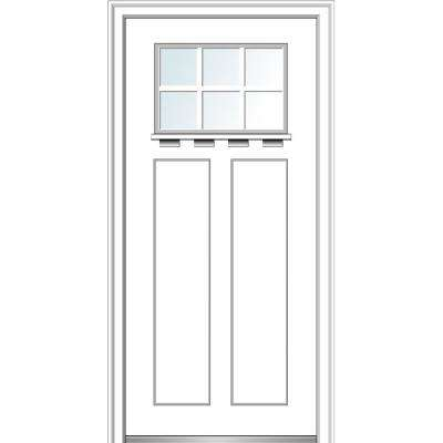 36 in. x 80 in. Right-Hand Inswing 6-Lite Clear 2-Panel Shaker Painted Fiberglass Smooth Prehung Front Door with Shelf