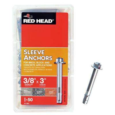 3/8 in. x 3 in. Zinc-Plated Steel Hex Head Sleeve Anchors (50-Pack)