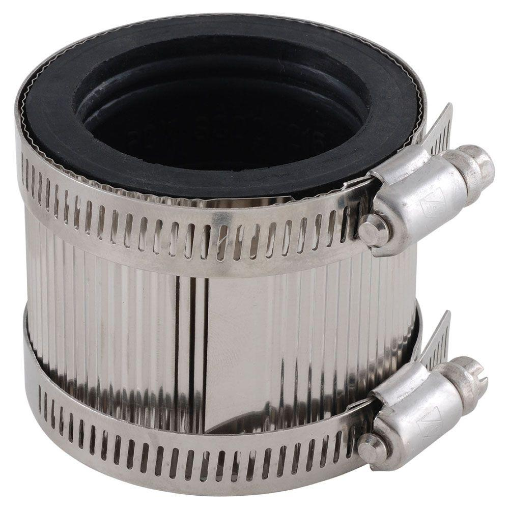LDR Industries 1-1/2 in. x 1-1/2 in. PVC FPT x FPT No-Hub Coupling