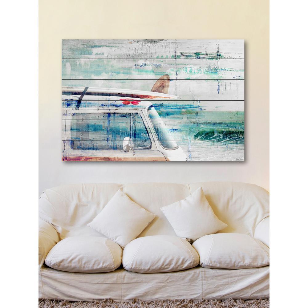 "30 in. H x 45 in. W ""Beach Trip"" by Parvez Taj Printed White Wood Wall Art"
