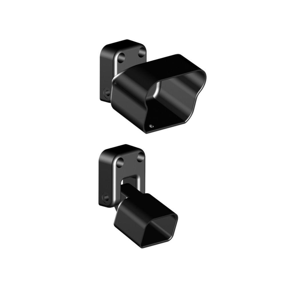 Aluminum Black Fine Textured Stair Rail Bracket Kit (2-Piece)