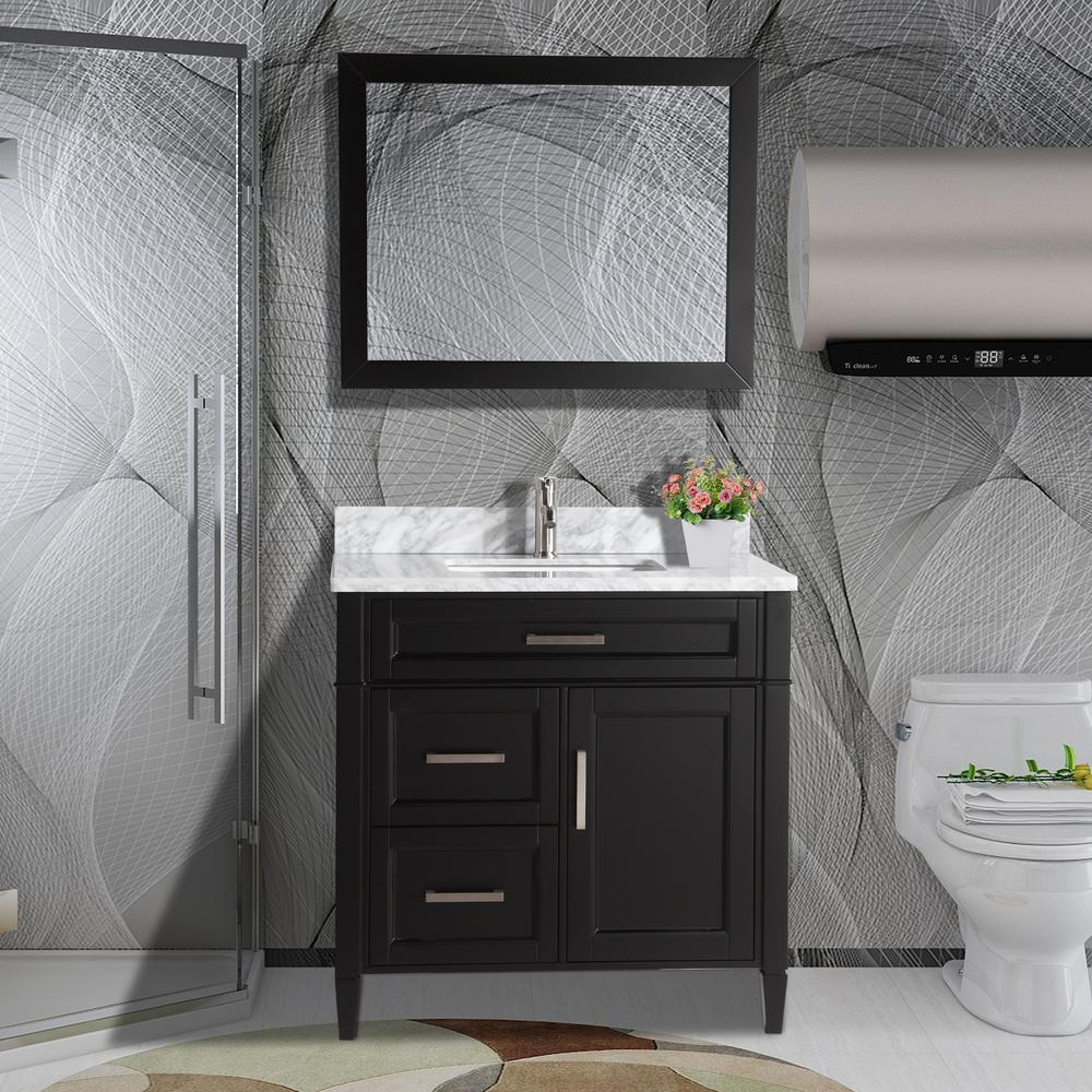 Vanity Art 36 in. W x 22 in. D x 36 in. H Vanity in Espresso with Single Basin Vanity Top in White and Grey Marble and Mirror