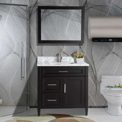 36 in. W x 22 in. D x 36 in. H Vanity in Espresso with Single Basin Vanity Top in White and Grey Marble and Mirror
