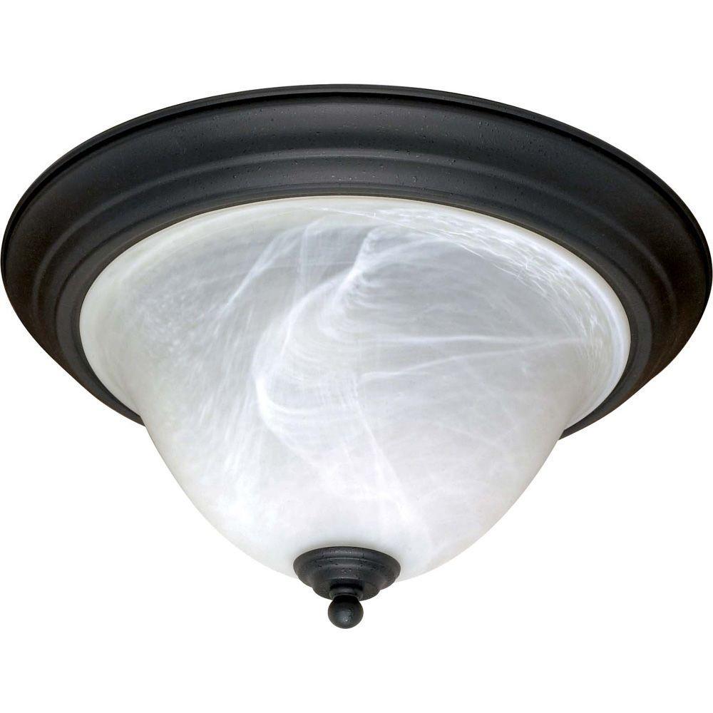 Adria 2-Light Textured Flat Black Flushmount with Alabaster Swirl Glass