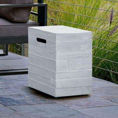 Board Form 16 in. Propane Tank Cover in Light Gray Faux Wood