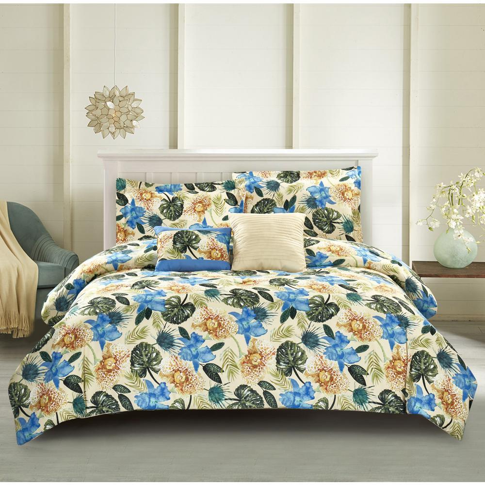 Lanai 5-Piece Blue Full/Queen Comforter Set