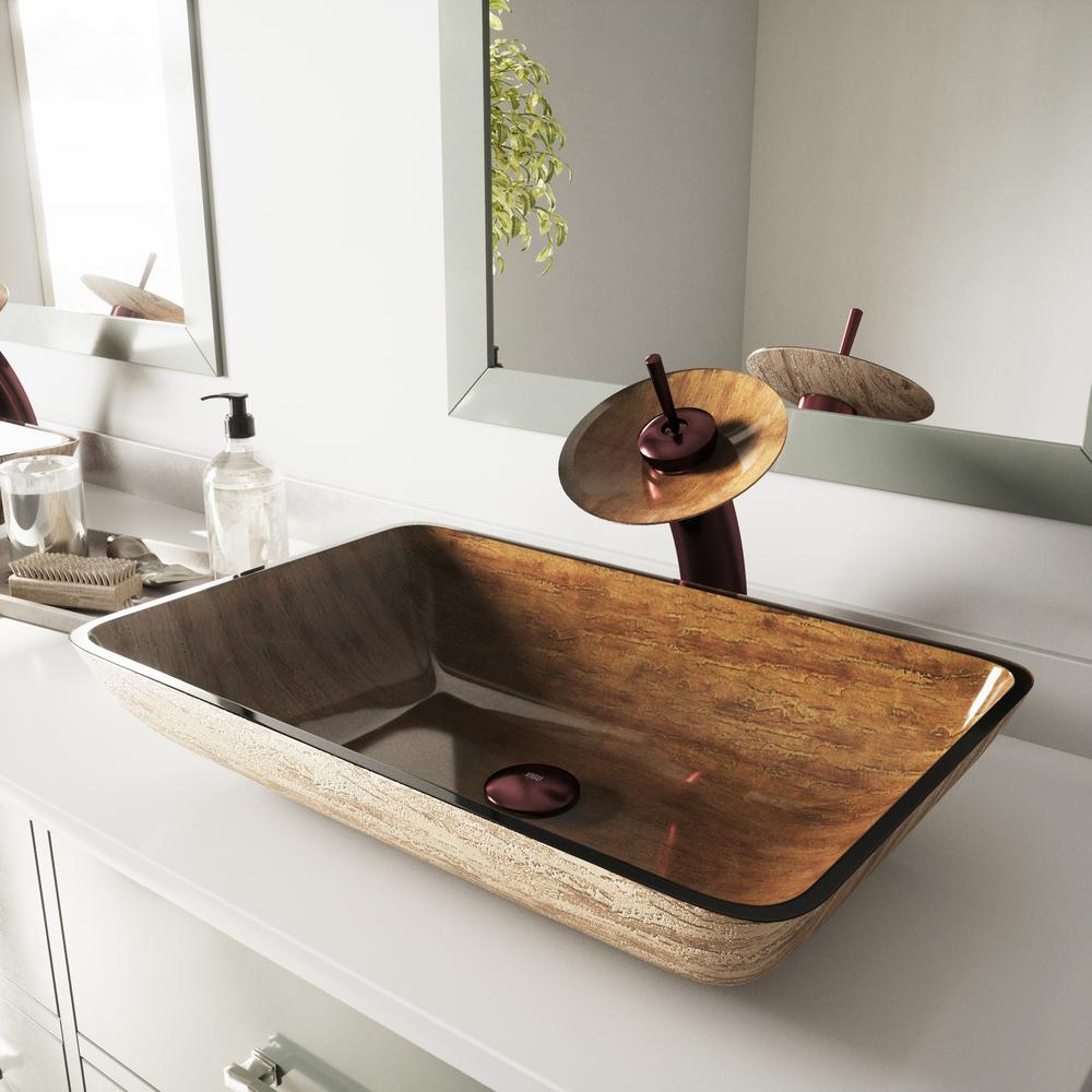 Vigo Rectangular Vessel Sink In Amber Sunset With