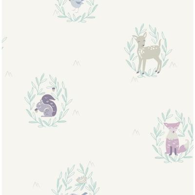Kids Furry Friends Blue, Gray and Purple Wallpaper