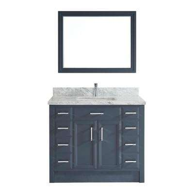 Calais 42 in. W x 22 in. D Vanity in Pepper Gray with Marble Vanity Top in Gray with White Basin and Mirror