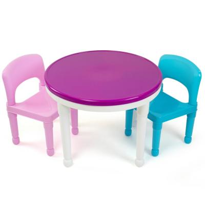 Bright Colors 2-in-1 Plastic LEGO-Compatible Kids Activity Table and 2 Chairs Set