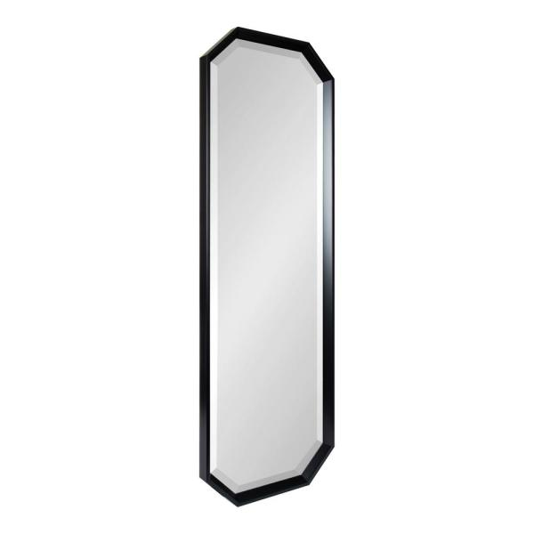 Calter 48 in. x 17 in. Classic Octagon Framed Black Wall Accent Mirror