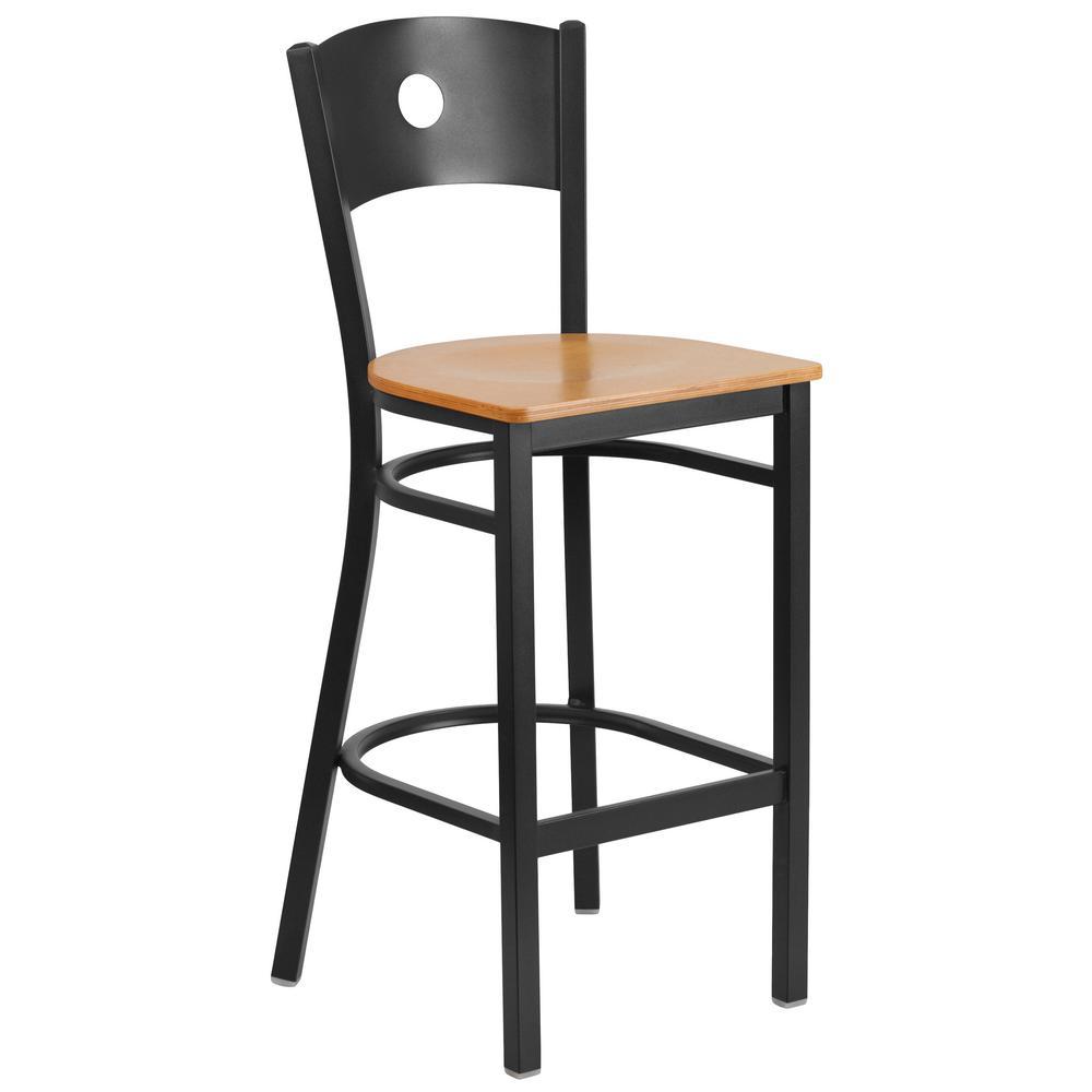 Flash Furniture Natural Wood Seat/Black Metal Frame Bar Stool CGA-XU-160089-NA-HD