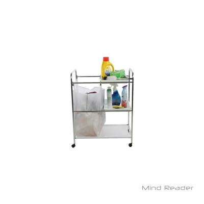Silver Metal 2 Tray Cleaning Mobile Accessory Cart with Wheels