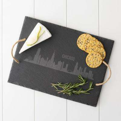 Chicago Skyline Black Slate Serving Tray