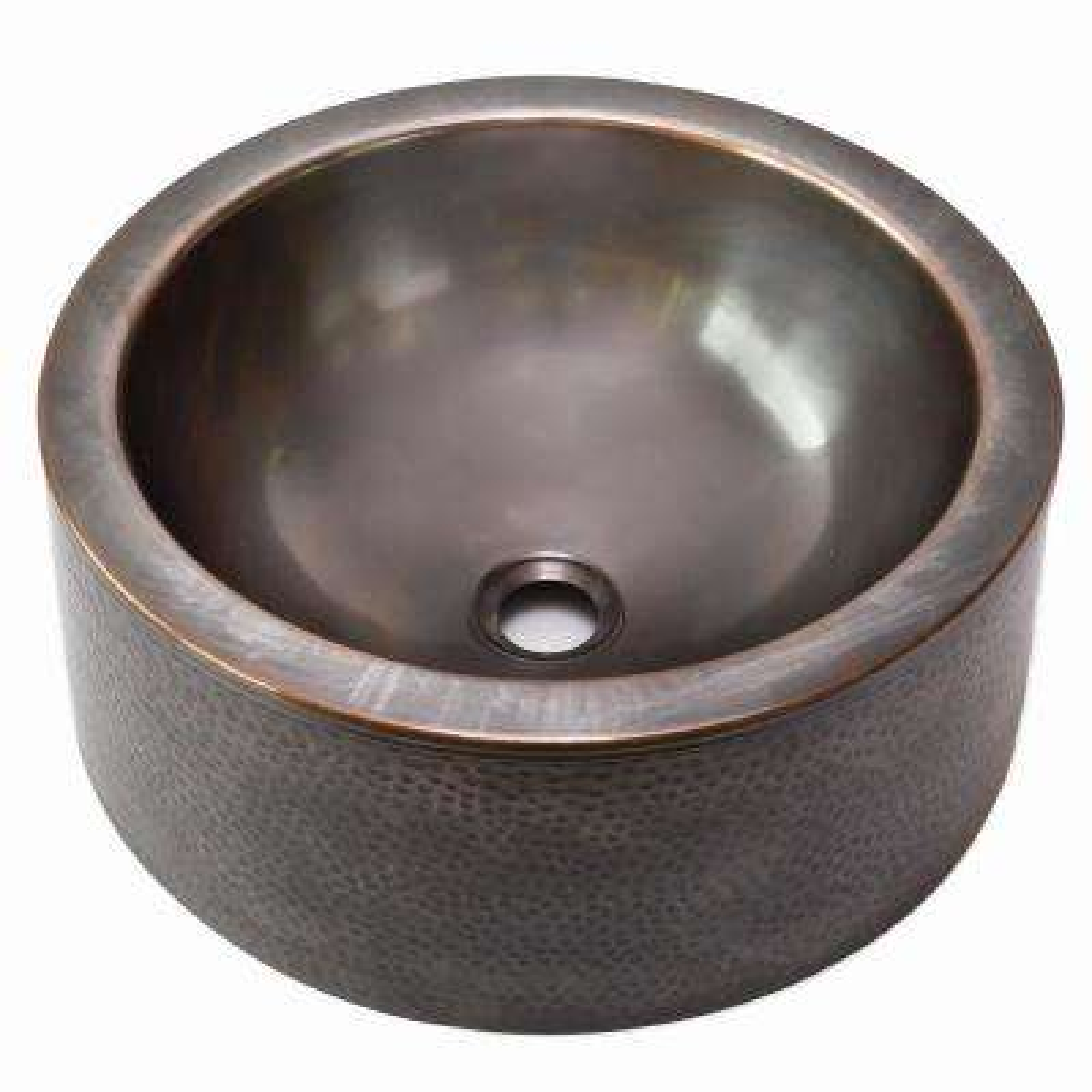 Hammerwerks Series Round Vessel Sink in Copper