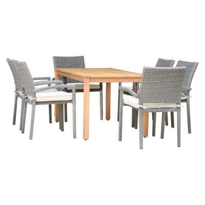 Manchester 7-Piece Teak Finish Rectangular Outdoor Dining Set with White Cushions