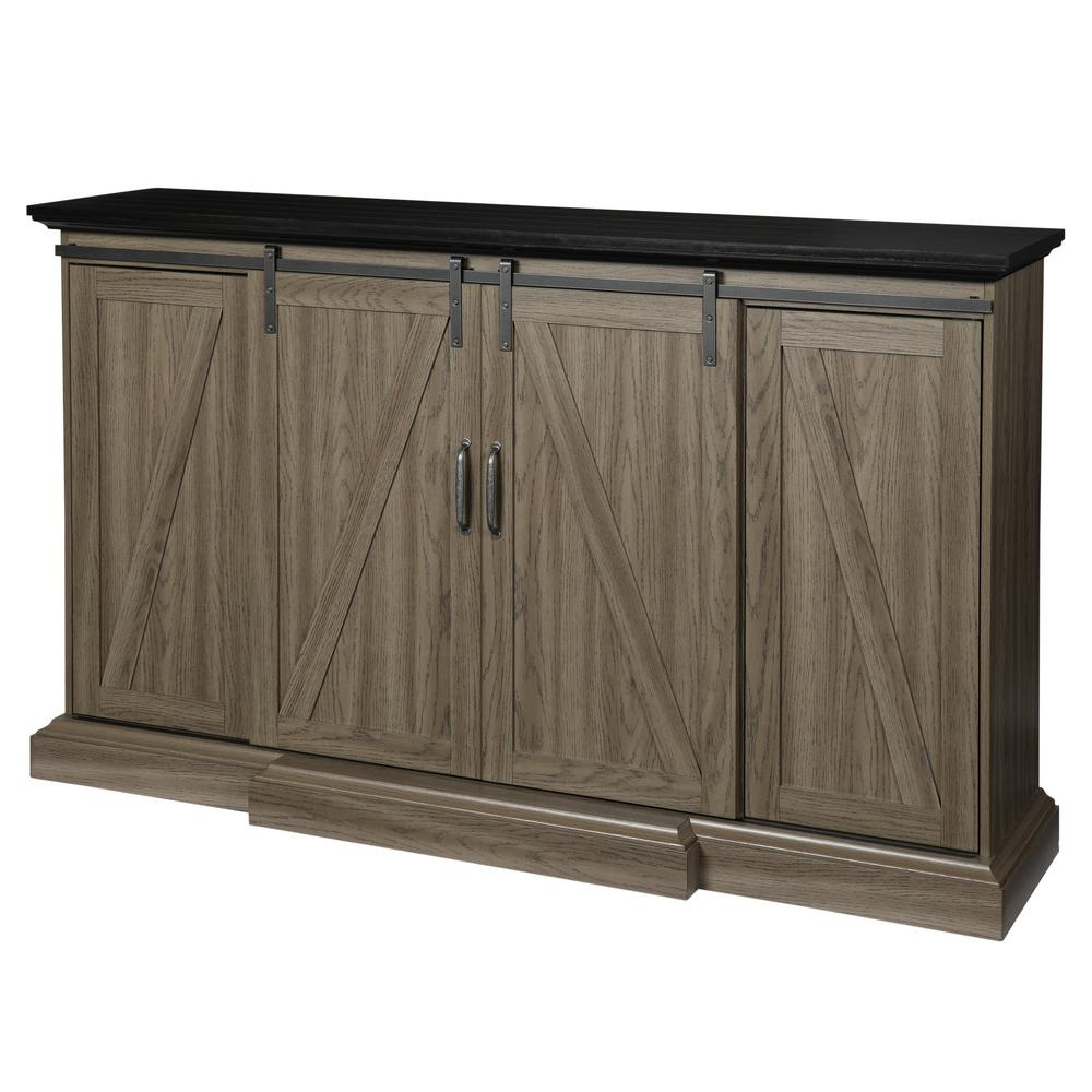 Home Decorators Collection Chestnut Hill 68 In Tv Stand Electric Fireplace With Sliding Barn Door Ash