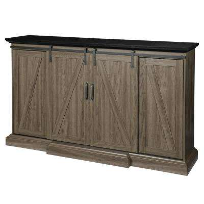 Chastain 68 in. TV Stand Electric Fireplace with Sliding Barn Door in Ash
