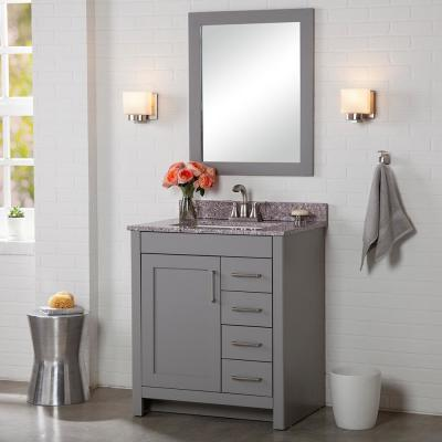 Westcourt 31 in. W x 22 in. D Bath Vanity in Sterling Gray with Stone Effect Vanity Top in Pulsar with White Sink