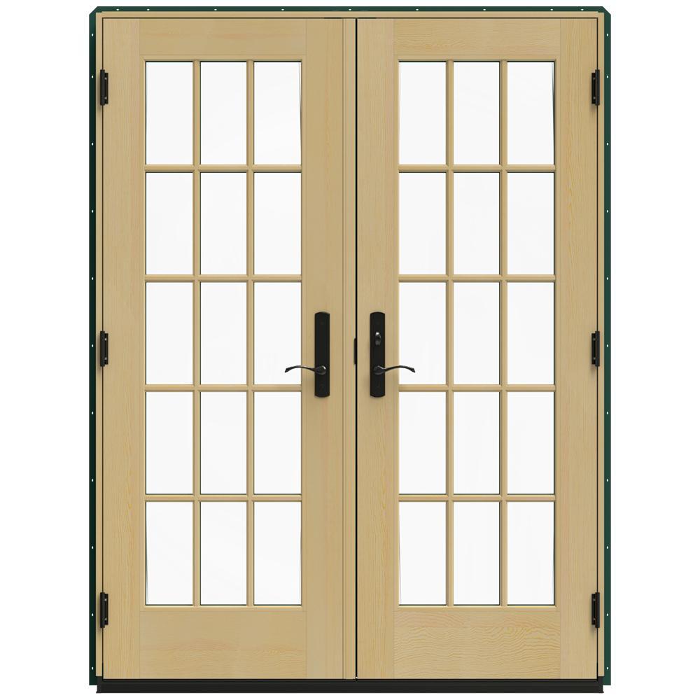 Double Doors Exterior Home Depot: JELD-WEN 59.25 In. X 79.5 In. W-4500 Hartford Green Left