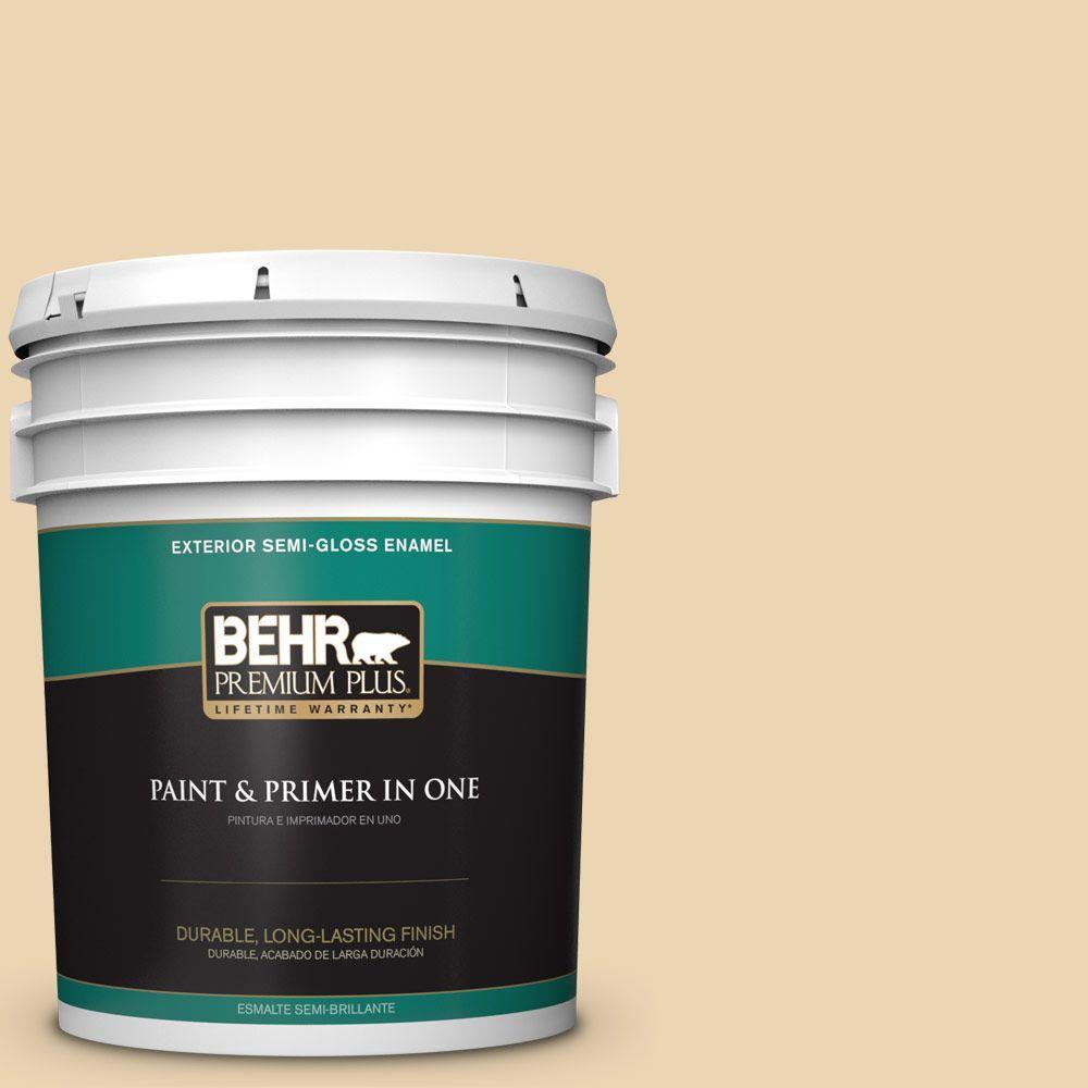 5-gal. #340E-3 Bavarian Cream Semi-Gloss Enamel Exterior Paint
