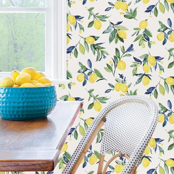 Nuwallpaper Lemon Drop Yellow Peel Stick Vinyl Strippable Wallpaper Covers 30 75 Sq Ft Nus3161 The Home Depot