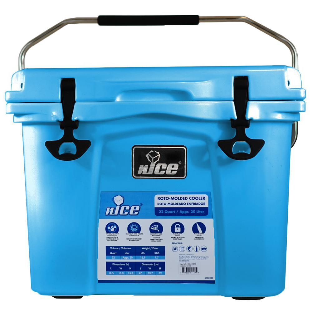 Nice 22 qt ice blue cooler 08240749 the home depot for Home depot fishing line