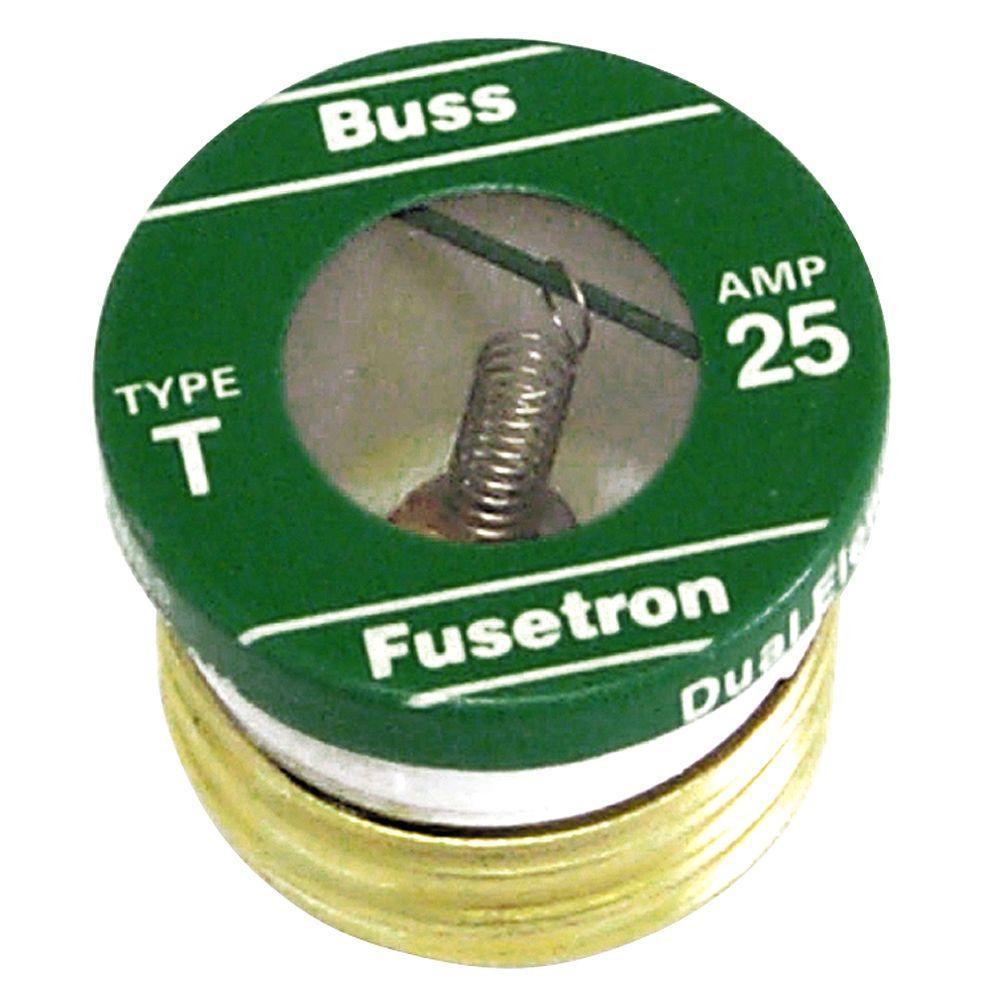 Cooper Bussmann T Series 25 Amp Plug Fuses (2-Pack)