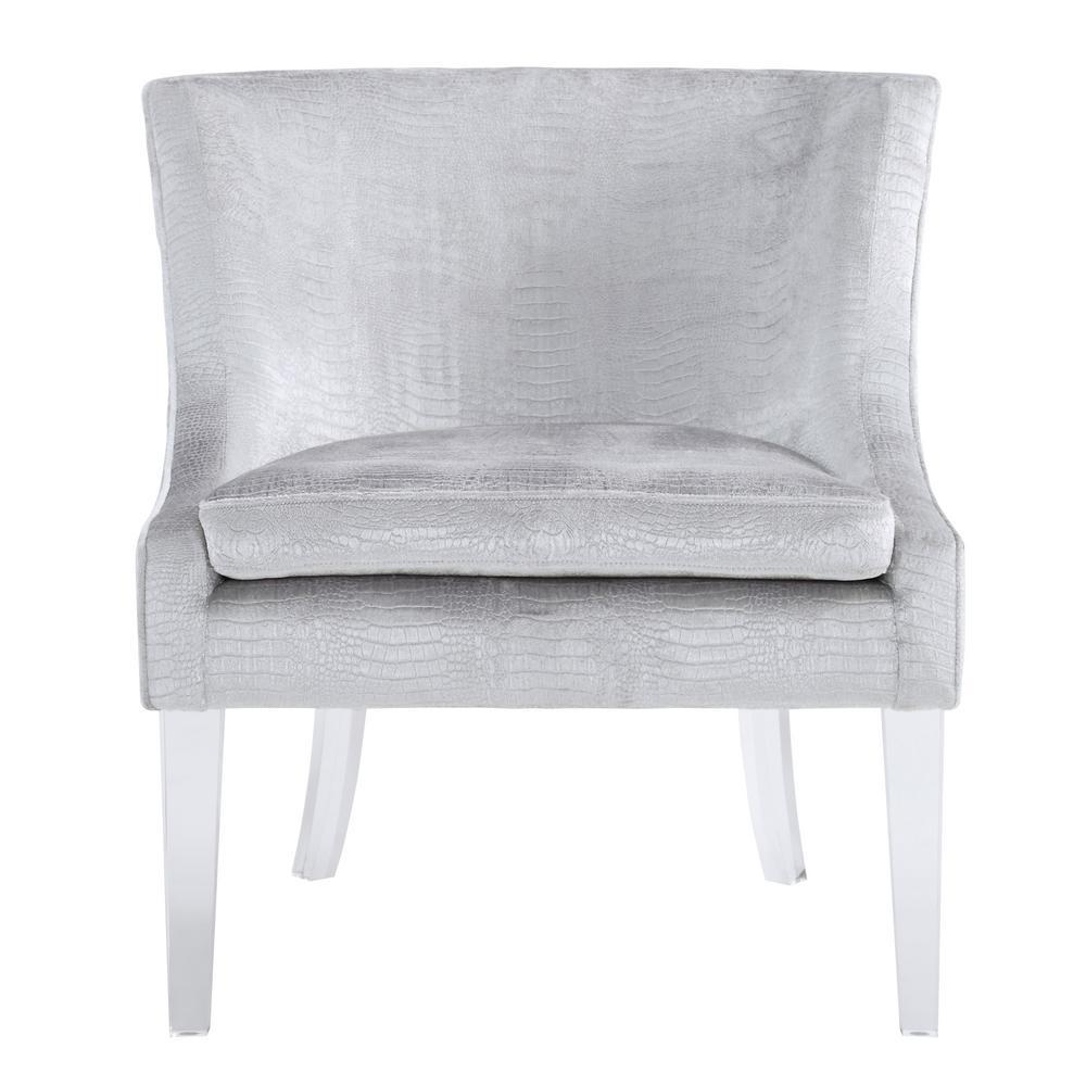 Myra Silver Velvet Croc Chair