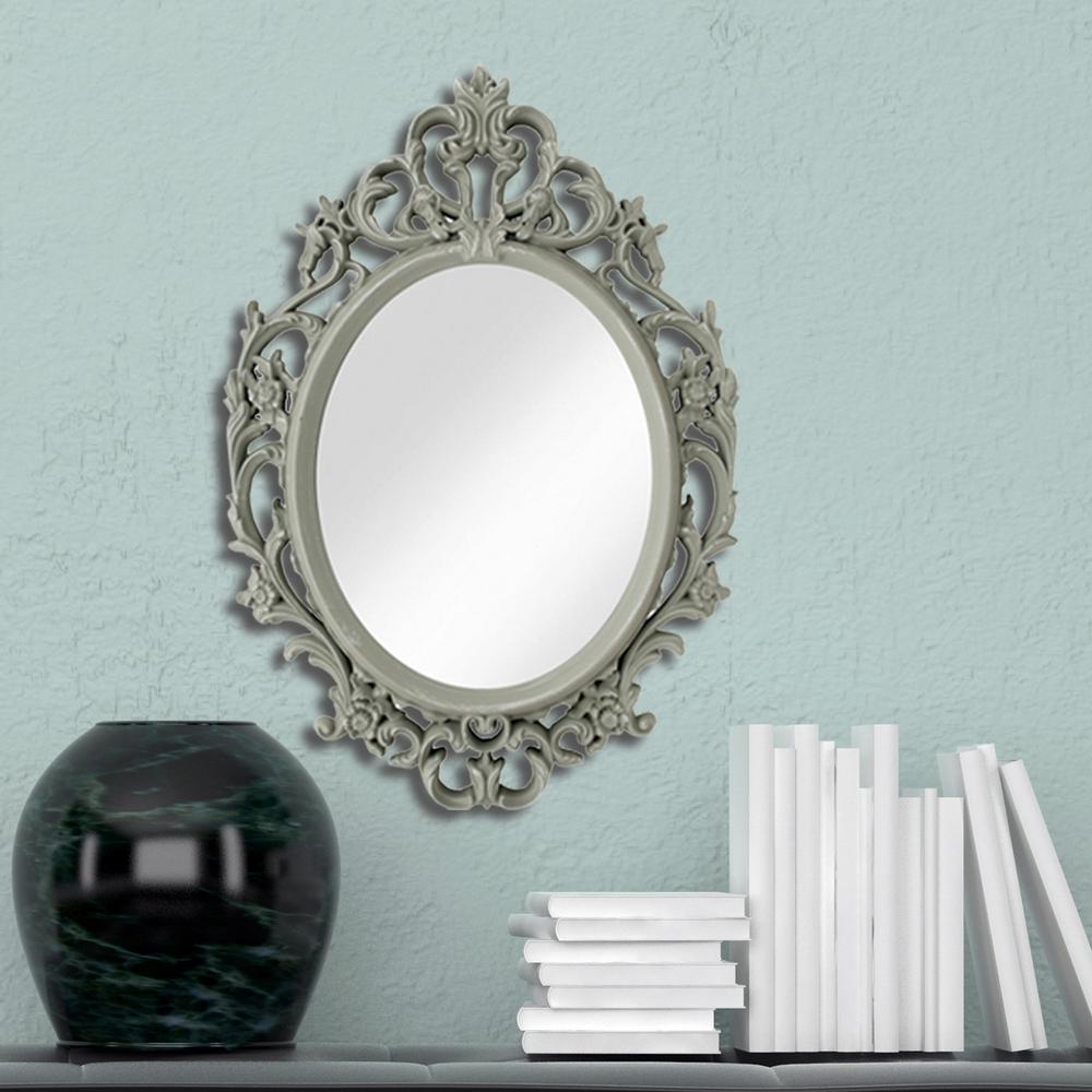 15 in. x 10 in. Ornate Grey Oval Mirror