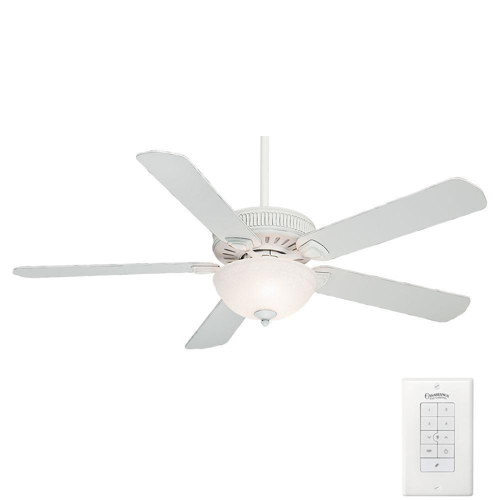 Casablanca Ainsworth Gallery 60 in. Indoor Cottage White Ceiling Fan with 4-Speed Wall-Mount Control