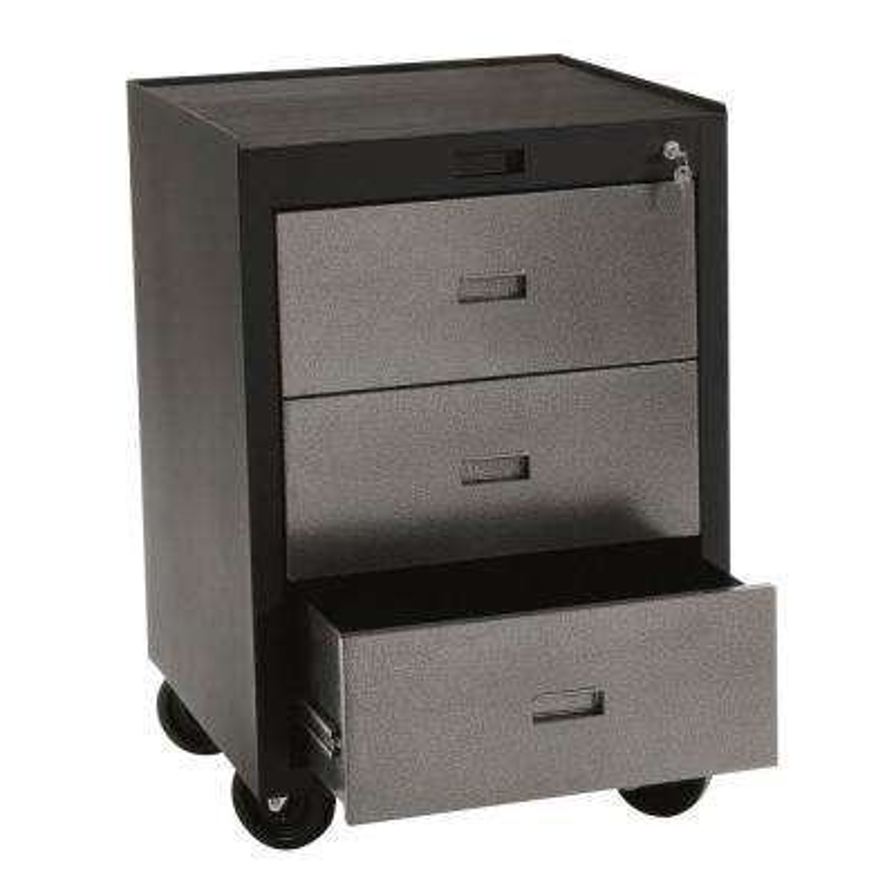 30 in. H x 23 in. W x 22 in. D 3-Drawer Steel Rolling Tool Storage Cabinet In Black/Silver