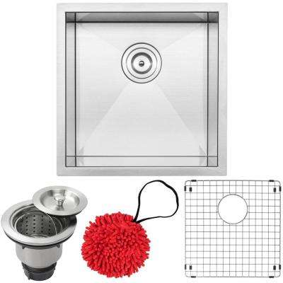 Pacific Zero Radius Undermount 16-Gauge Stainless Steel 17.25 in. Single Basin Kitchen and Bar Sink with Accessory Kit