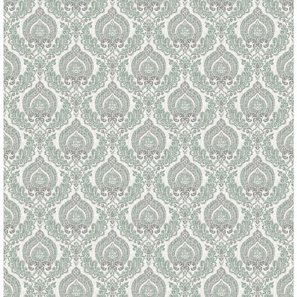 A-Street Lulu Dark Green Damask Wallpaper 2657-22229