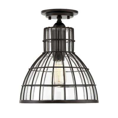 1-Light English Bronze Flushmount with Clear Glass