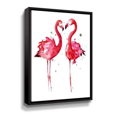 'Pink Flamingos' by  Sam nagel Framed Canvas Wall Art