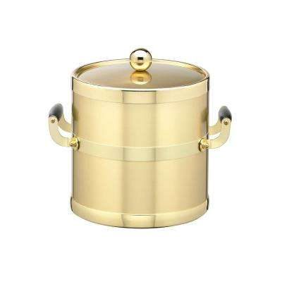 Americano 3 Qt. Brushed Brass Ice Bucket and Lid with Wood Side Handles