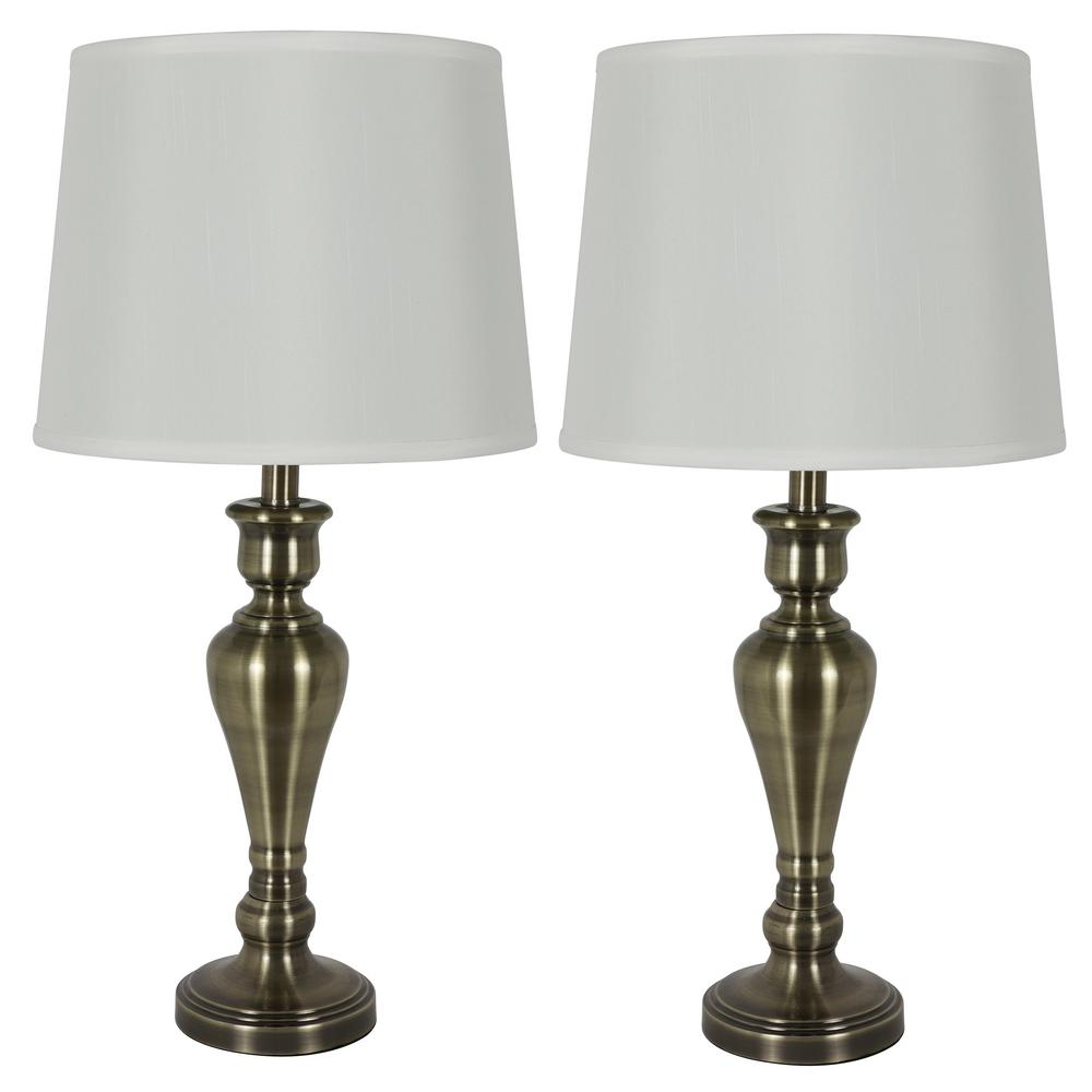 Decor Therapy Marie 26 in. Antique Brass Table Lamp Set