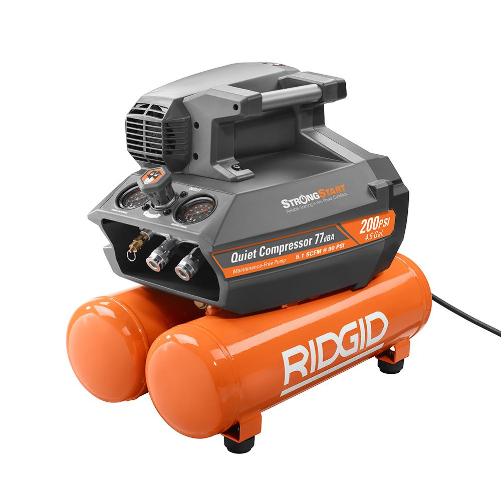 6608ab0a054 RIDGID 4.5 Gal. Portable Electric Quiet Air Compressor-OF45200SS ...