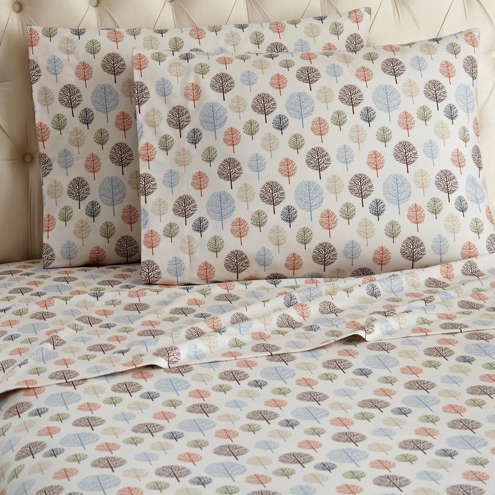 Micro Flannel Micro Flannel 3 Piece Trees Botanical Twin Sheet Set Mfnsstwtre The Home Depot