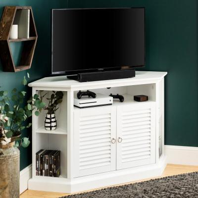 "52"" Transitional Wood Corner TV Stand - White"