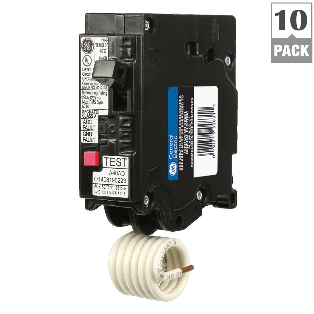 Q-Line 15 Amp Single-Pole Dual Function Arc Fault/GFCI Breaker (10-Pack)