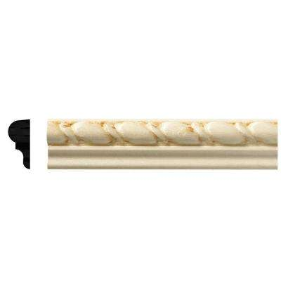 5/16 in. x 11/16 in. x 96 in. White Hardwood Embossed Rope Moulding