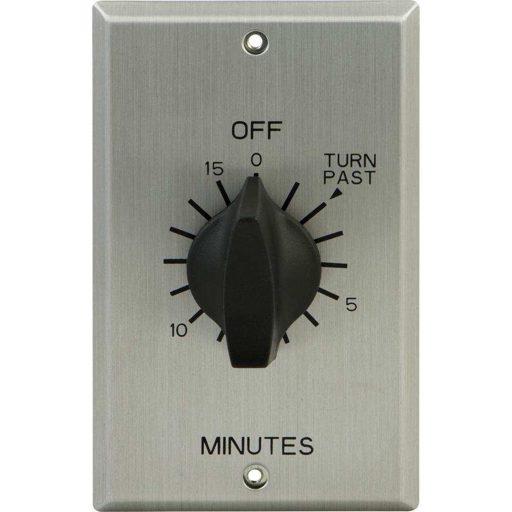 20 Amp 15-Minute In-Wall Spring Wound Timer Switch with Stainless Steel