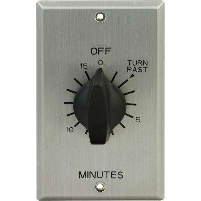 20 Amp 15-Minute In-Wall Spring Wound Timer Switch with Stainless Steel Wall Plate