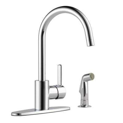 Apex Single-Handle Standard Kitchen Faucet with Side Sprayer in Chrome