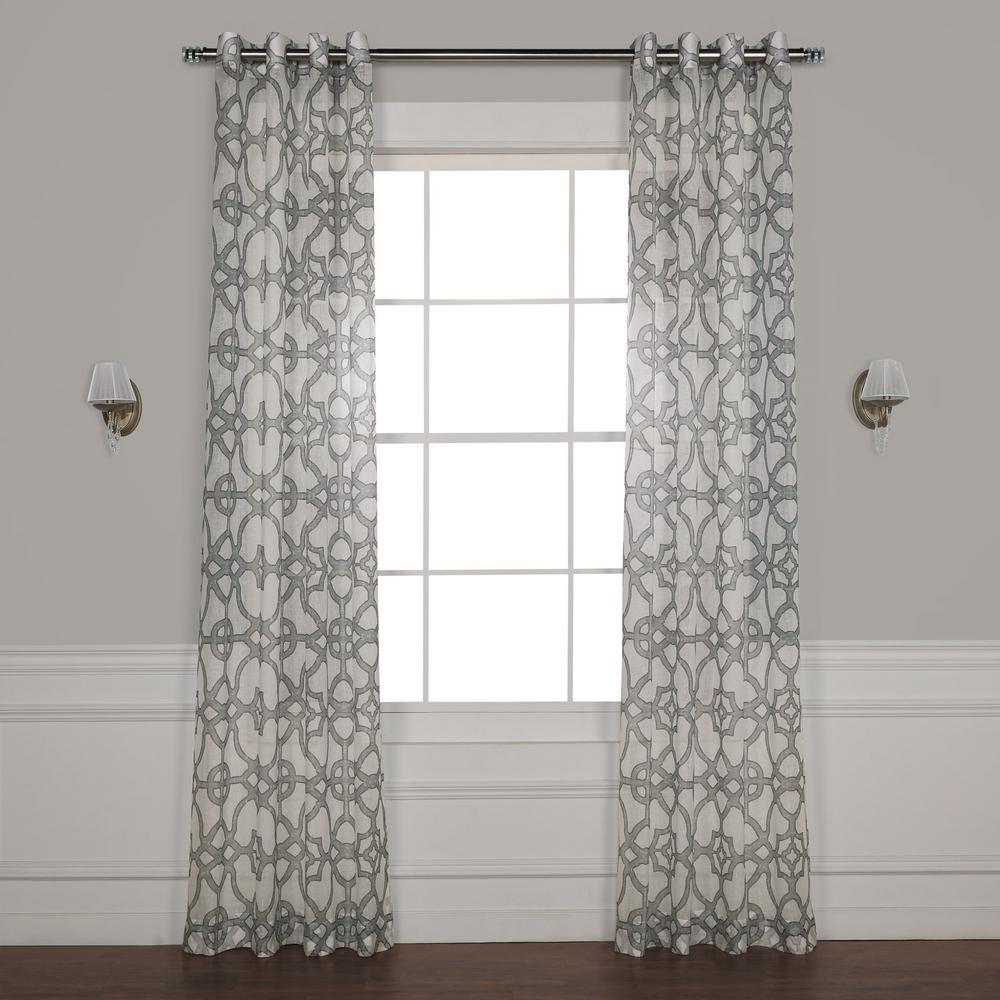 SeaGlass Grey Grommet Printed Sheer Curtain - 50 in. W x 108 in. L