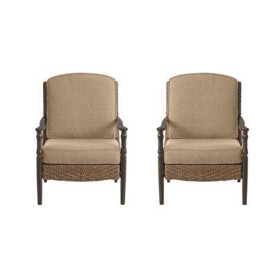 Bolingbrook Wicker Outdoor Patio Lounge Chair with Standard Toffee Solid Cushions (2-Pack)